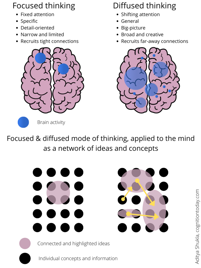 Focused and diffused thinking